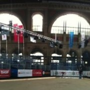 The set up for the shot put in the main train station at this year's Weltklasse Zürich meet.