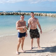 Enjoying a beer with my former training partner Ford on Seven Mile Beach.