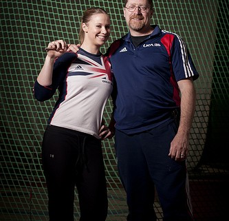 Coach Evely with Sophie Hitchon, the UK record holder. Photo used with permission from Jonathan Mulkeen.