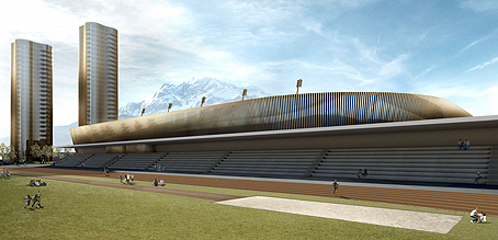 The brand new Luzern athletics stadium with Pilatus in the background.