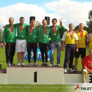 I guess I put the me in Team. I missed the hammer throw medal ceremony and left our youngest member up there alone.