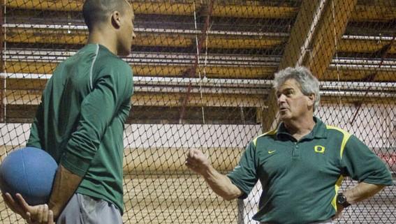 Coach Harry Marra with Aston Eaton.