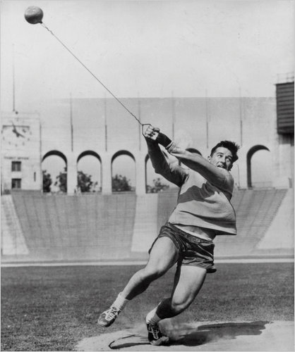 Connolly training at the LA Coliseum in 1956. Notice the dirt ring and absence of a cage.