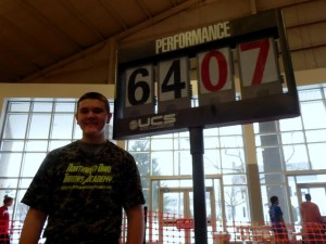 Nick Lane after setting the a new national freshman class record on Friday.