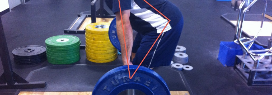The triangle coach Lange aims for in the Olympic lifts, as demonstrated on Wil Flemings Homepage