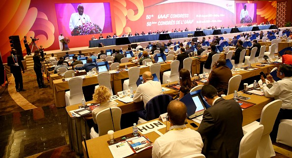 BEIJING, CHINA - AUGUST 19:  IAAF President Lamine Diack addresses congress during the 50th IAAF Congress at the China National Convention Centre, CNCC on August 19, 2015 in Beijing, China. (Photo by Alexander Hassenstein/Getty Images for IAAF)