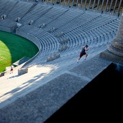 Harvard University lacrosse player, Brad Cappellini runs the Harvard University stadium steps.   Rose Lincoln/Harvard Staff Photographer