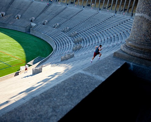 Harvard University lacrosse player, Brad Cappellini runs the Harvard University stadium steps.   Rose Lincoln/Harvard Staff Photographer