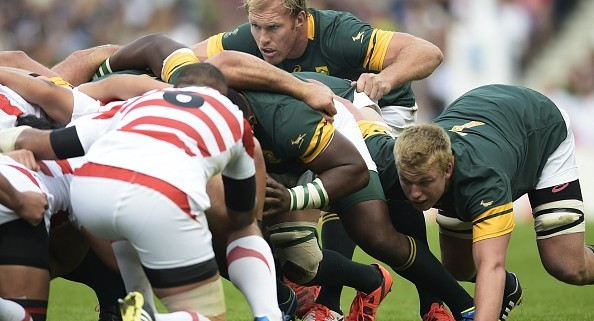 EDITORS NOTE - CORRECTING NAME -  South Africa's number 8 Schalk Burger scrums during a Pool B match of the 2015 Rugby World Cup between South Africa and Japan at the Brighton community stadium in Brighton, south east England on September 19, 2015. AFP PHOTO / LIONEL BONAVENTURE RESTRICTED TO EDITORIAL USE, NO USE IN LIVE MATCH TRACKING SERVICES, TO BE USED AS NON-SEQUENTIAL STILLS        (Photo credit should read LIONEL BONAVENTURE/AFP/Getty Images)