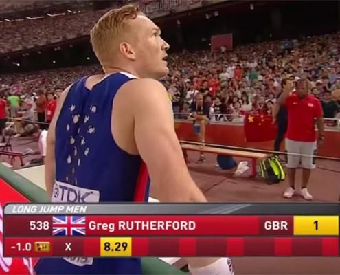 World champion Greg Rutherford with coaches Dan Pfaff and Jonas Tawiah-Dodoo in Beijing.