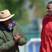 LAKE BUENA VISTA, FL-MARCH, 11: Rising hurdling star David Oliver, right, shares a laugh with legendary coach Brooks Johnson, during a workout at the ESPN Wide World of Sports Complex in Lake Buena Vista, Fla. 2011.(Photo by Phelan M. Ebenhack/For The Washington Post via Getty Images)
