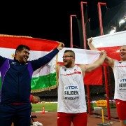 BEIJING, CHINA - AUGUST 23:  (L-R) Silver medalist Dilshod Nazarov of Tajikistan, gold medalist Pawel Fajdek of Poland and bronze medalist Wojciech Nowicki of Poland celebrate after the Men's Hammer final during day two of the 15th IAAF World Athletics Championships Beijing 2015 at Beijing National Stadium on August 23, 2015 in Beijing, China.  (Photo by Ian Walton/Getty Images)