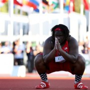 EUGENE, OR - JULY 25: Raven Saunders of USA gets set for a throw in the women's shot put during day four of the IAAF World Junior Championships at Hayward Field on July 25, 2014 in Eugene, Oregon.  (Photo by Christian Petersen/Getty Images)