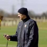 15 Mar 2000:  Arsenal manager Arsene Wenger looks at his stopwatch during a training session at their facilities at Shenley in Hertfordshire, England.   Mandatory Credit: Graham Chadwick /Allsport