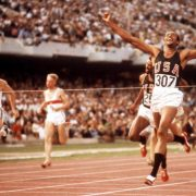 1968 Olympic Games, Mexico City, Mexico Men's 200 metres Final, Tommie Smith of the USA wins Gold  (Photo by Rolls Press/Popperfoto/Getty Images)