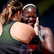 EUGENE, OR - JULY 06:  Amber Campbell, first place, embraces Amanda Bingson, fourth place, in the Women's Hammer Throw Final during the 2016 U.S. Olympic Track & Field Team Trials at Hayward Field on July 6, 2016 in Eugene, Oregon.  (Photo by Andy Lyons/Getty Images)
