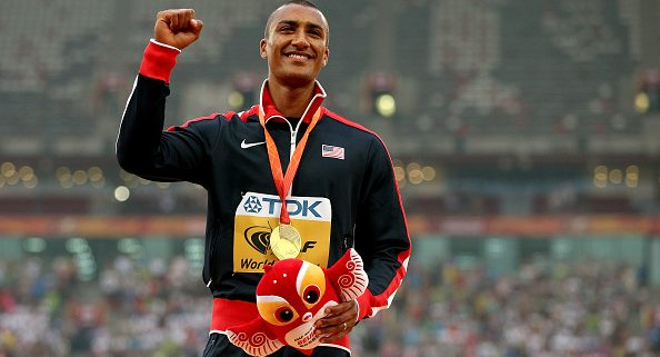 BEIJING, CHINA - AUGUST 30:  Gold medalist Ashton Eaton of the United States poses on the podium during the medal ceremony for the Men's Decathlon during day nine of the 15th IAAF World Athletics Championships Beijing 2015 at Beijing National Stadium on August 30, 2015 in Beijing, China.  (Photo by Patrick Smith/Getty Images)