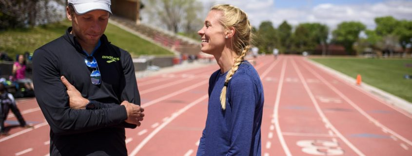 Danny Mackey coaching his wife, Katie, at a training camp in Albequerque. Photo by Craig Fritz.