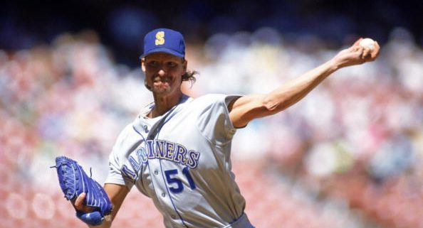 SEPTEMBER - 1990:  Randy Johnson #51 of the Seattle Mariners delivers a pitch during a game in September of 1990.  (Photo by Bernstein Associates/Getty Images)