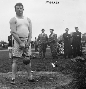 Matt McGrath shows the raw nature of the weight throw. He held the world record with the 56-pound version. In the hammer he became the oldest American track and field medalist at age 48 in 1924, a record which still stands.