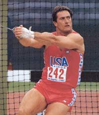 Ed Burke throwing at the 1984 Olympics after his first comeback.